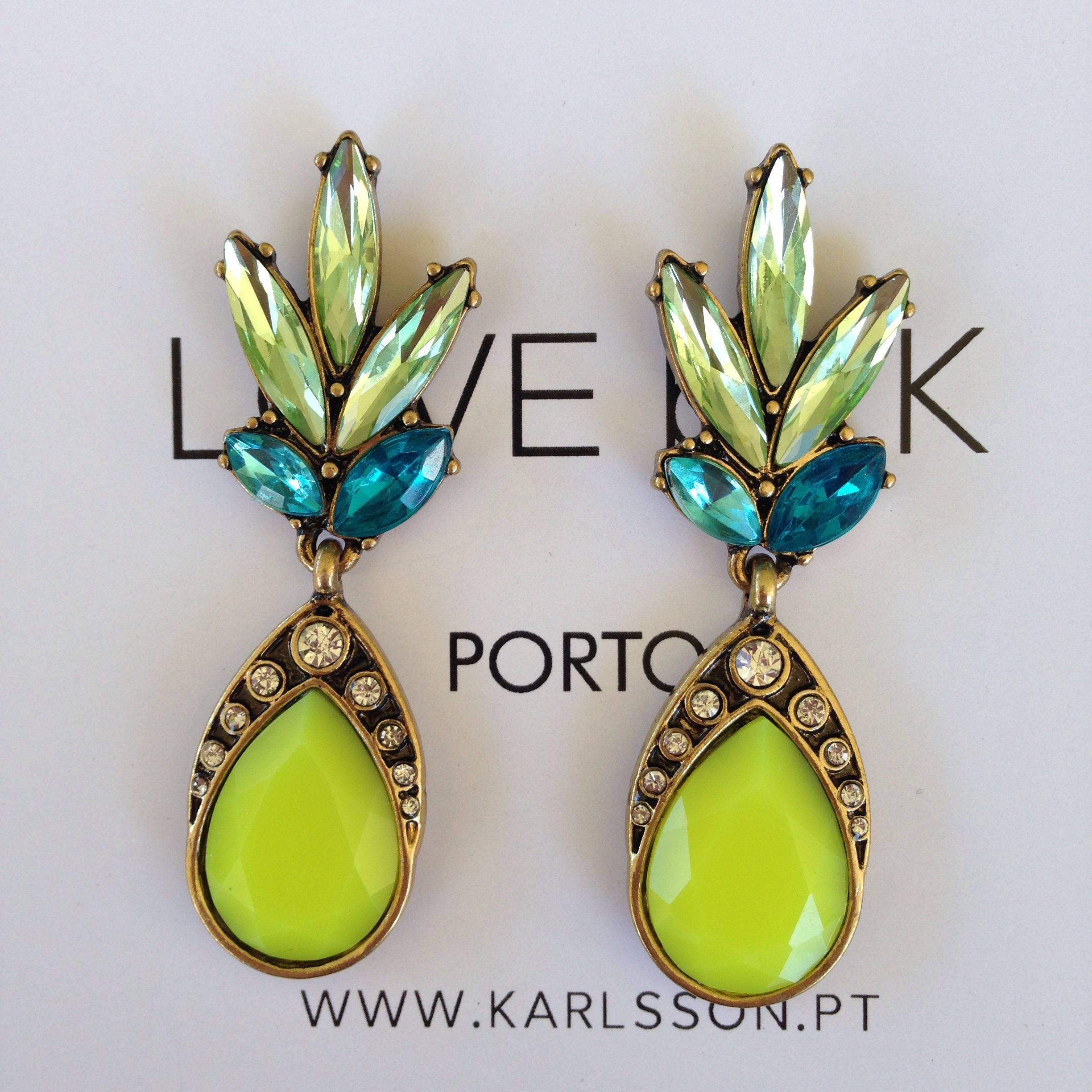 Amazing #lovebyk #accessories #earrings #lime #green #spring #springtime #fresh  #SS16 #bijux #bijuteria #smycken #örhängen #blingbling #sparkle  #fashionjewellery ...
