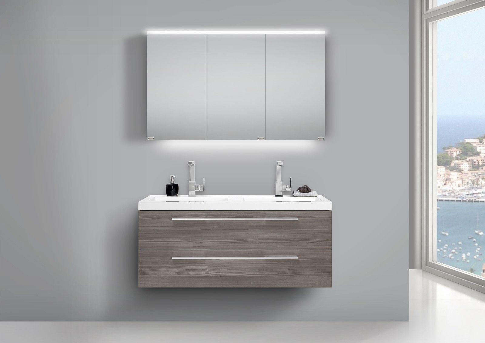Doppelwaschtisch 120cm Und Led Spiegelschrank Design Badmobel Unterschrank Doppelwaschtisch Und Badmobel Set Weiss