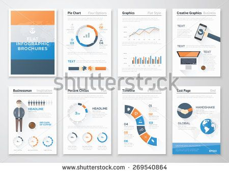 Flat style infographic vector elements in business brochures Big