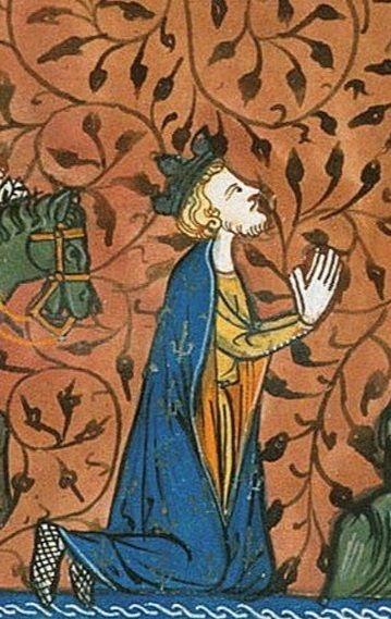 [Montgisard]. Baldovino IV smontato da cavallo e prostrandosi implorò l'aiuto divino per la vittoria.