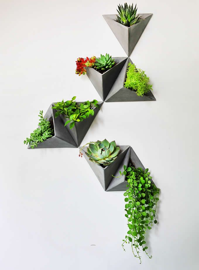 Concrete Triangle Wall Mounted Flower Pot