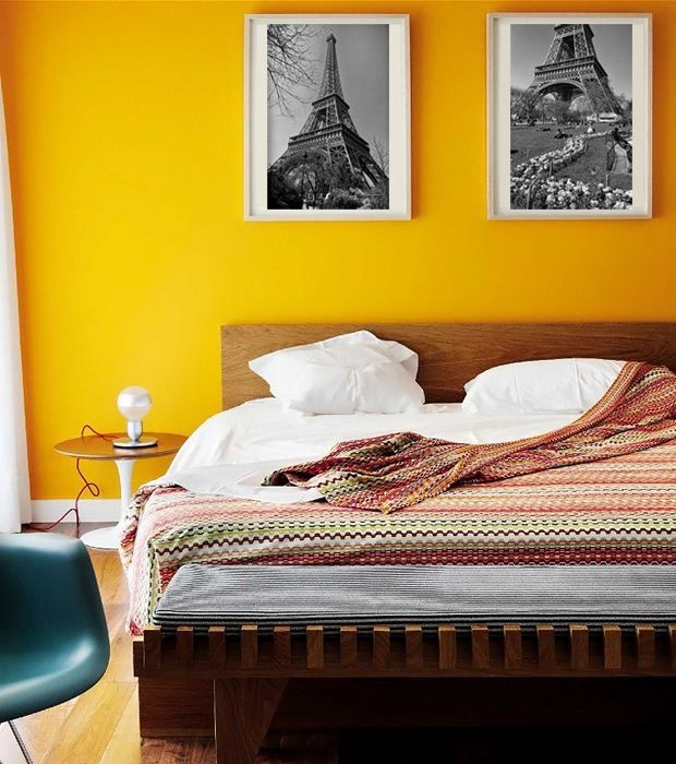Decorating your home with strong colors | Yellow bedroom ...