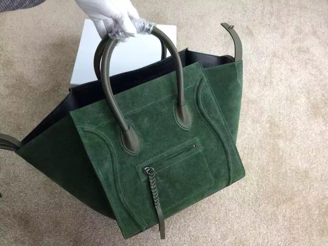 c6a7258d4c2 Celine Luggage Phantom in Dark Green Suede   Celine   Green suede ...