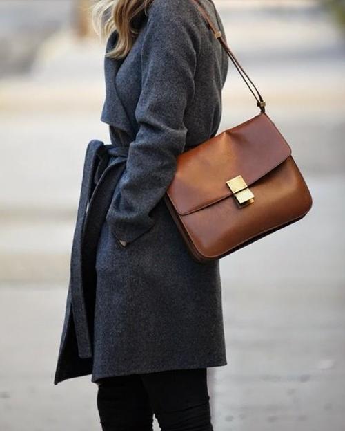 belted coat & Celine box bag #style #fashion #bags