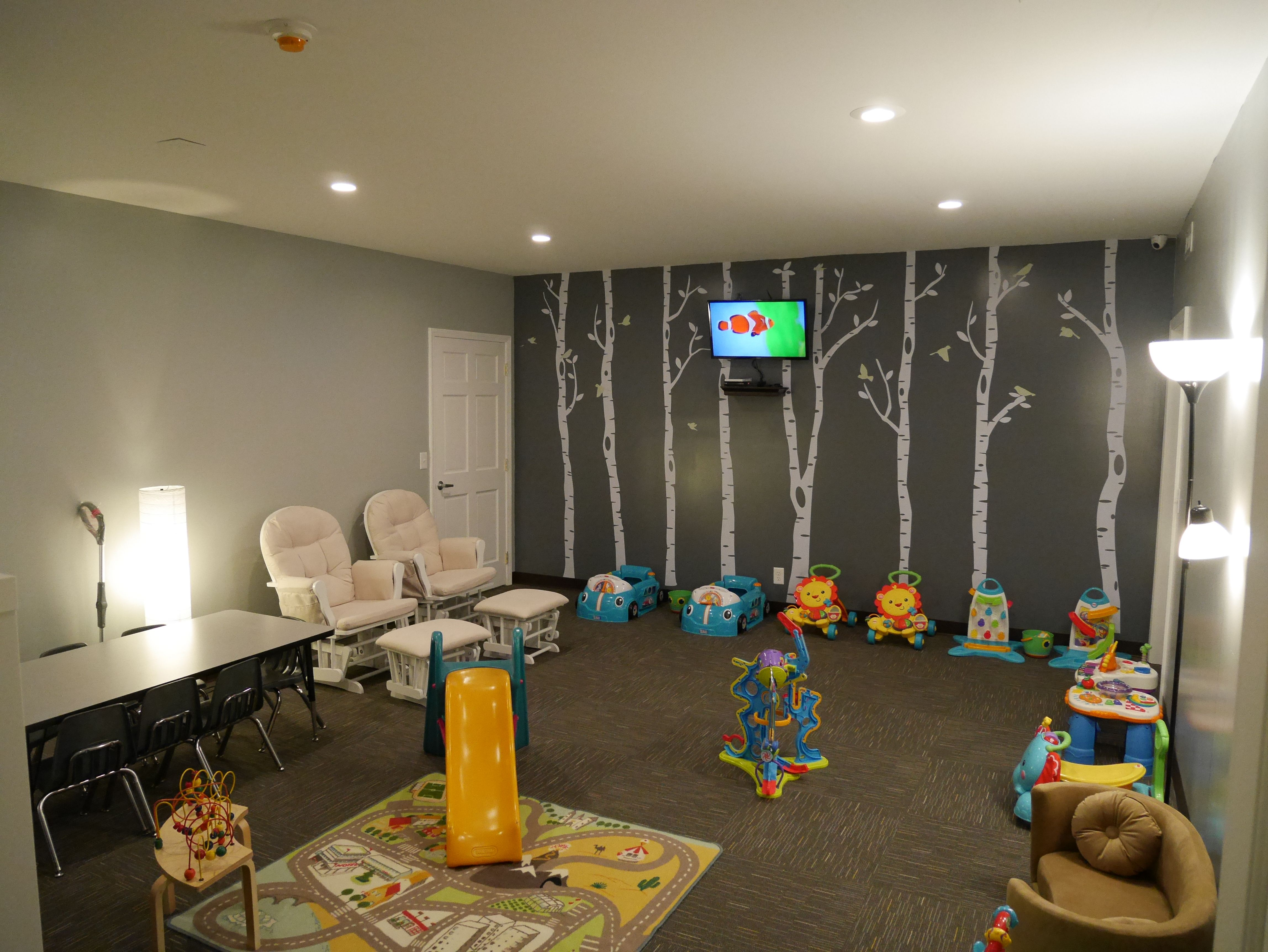 Church Nursery Accent Wall Quarter Turned Carpet Tile Kids