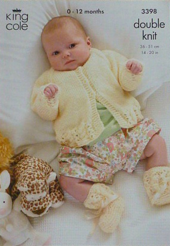 K3398 Babies Long Sleeve Cardigan Bootees By Knittingpatterns4u