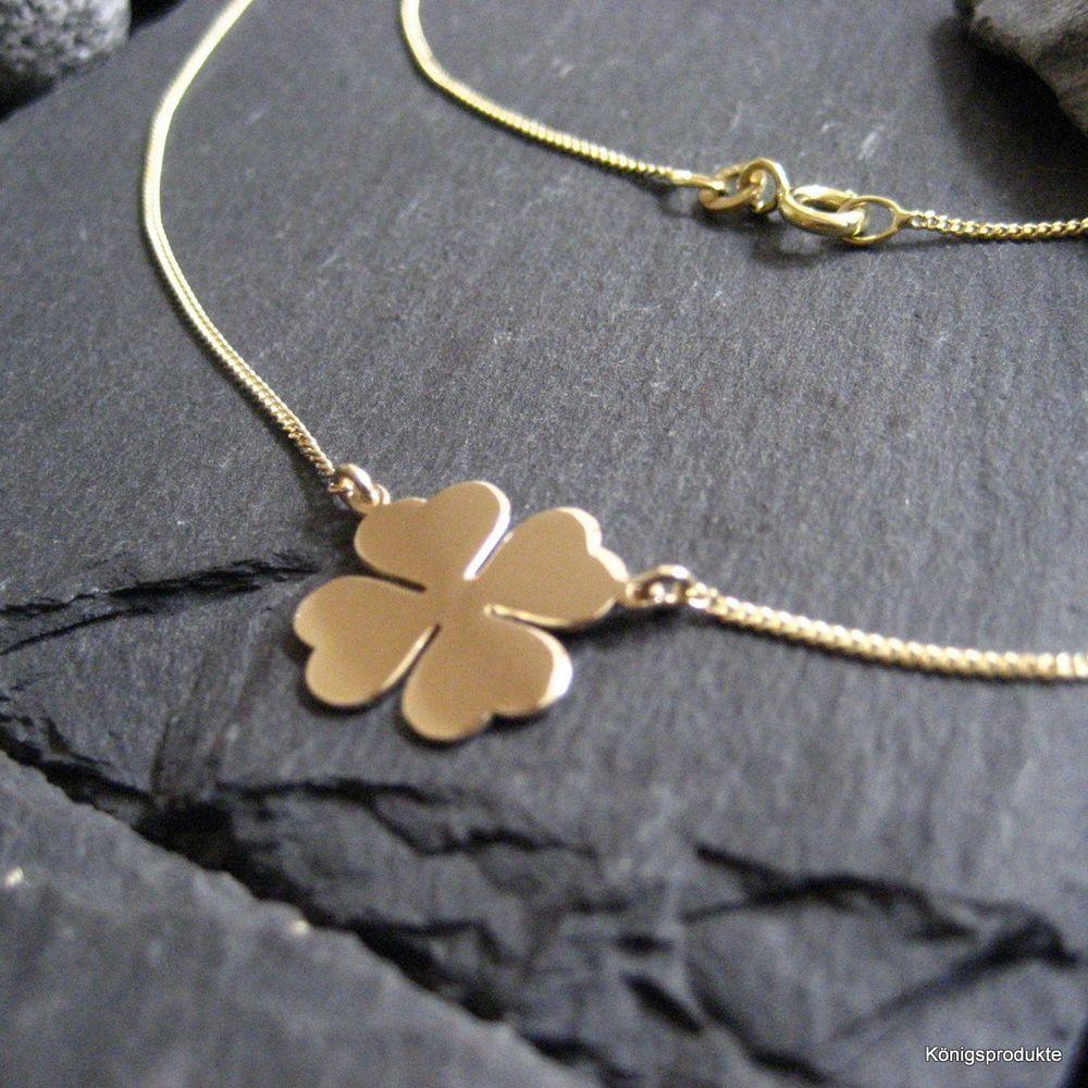 Halskette mit Kleeblatt Anhänger in 585er Gelbgold, Glück