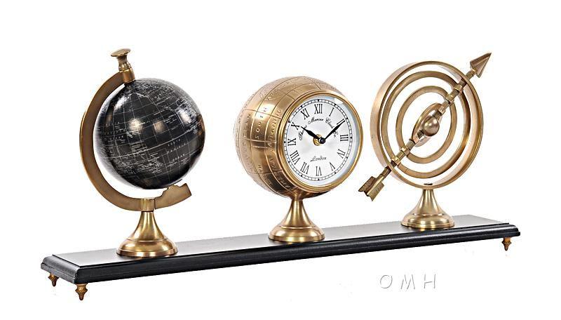 Brass Finish Vintage Armillery, Clock  Globe Trio On Wood Base