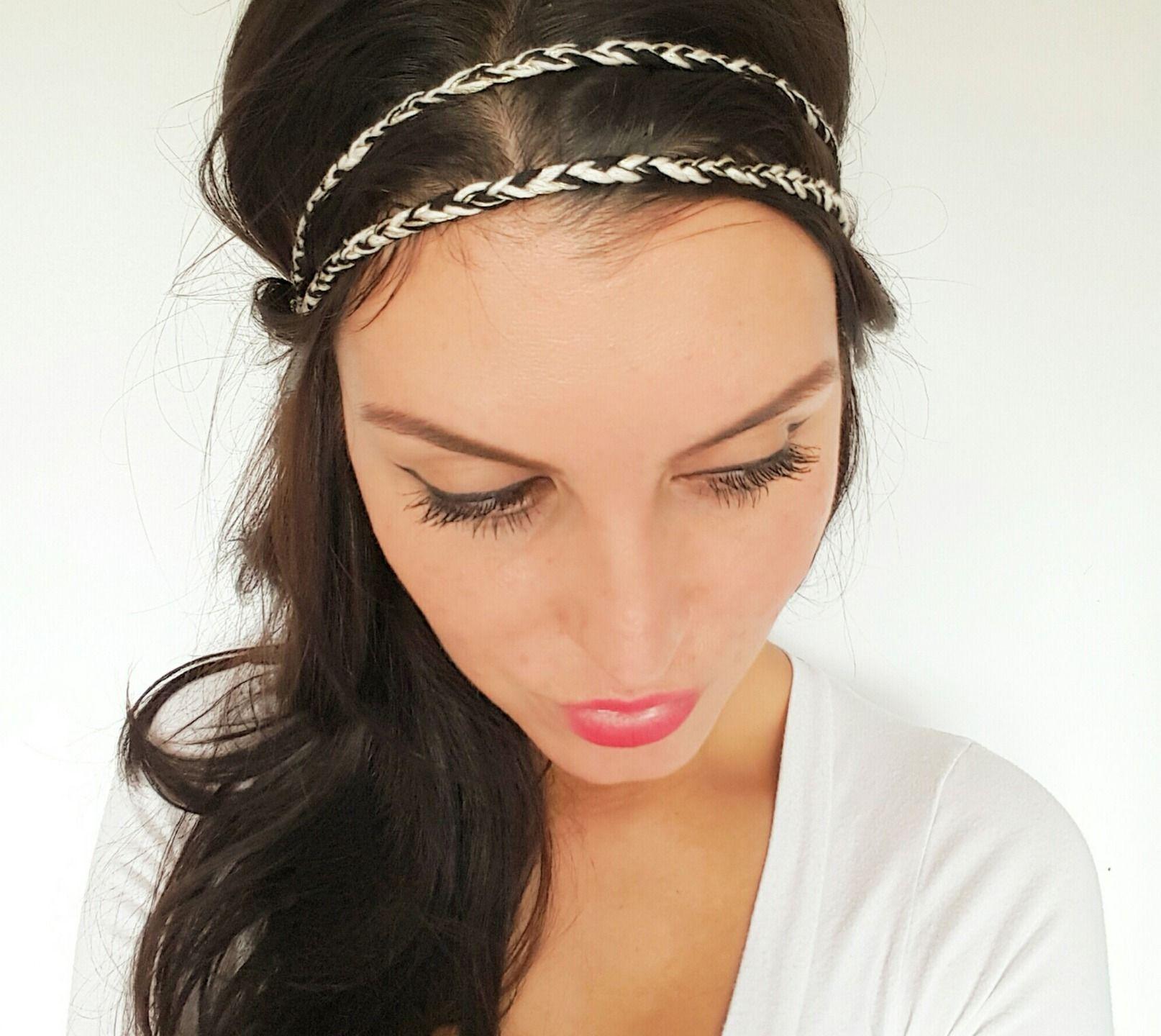 Headband tressé fil de coton noir, beige et doré original