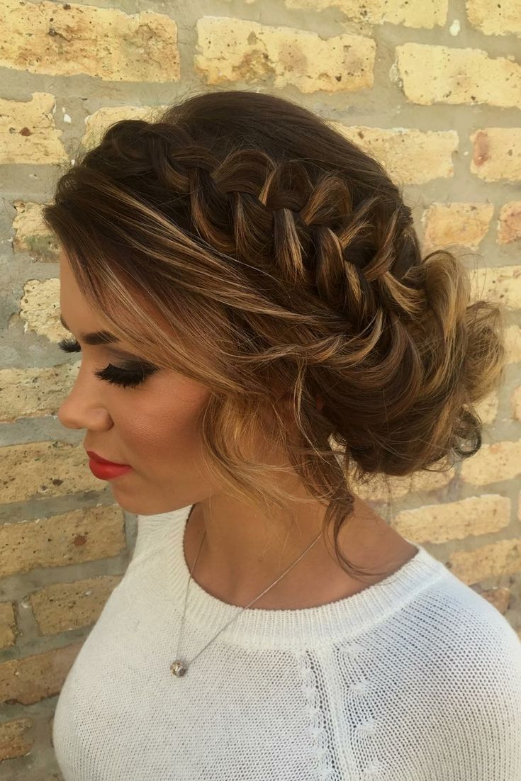 braided updo with face framing pieces + smoky eye = a