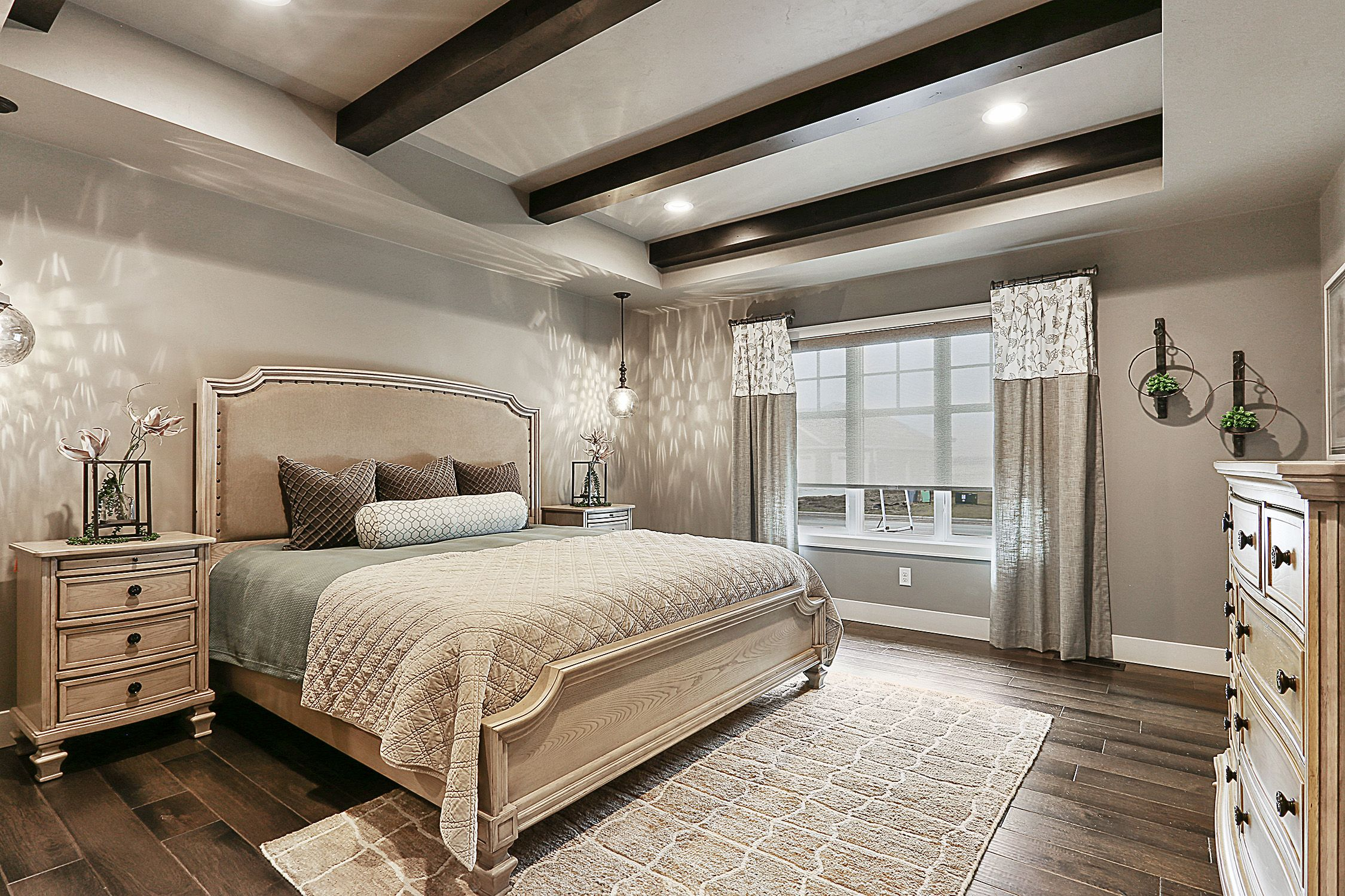 Master Bedroom With Custom Wood Beams In Tray Ceiling Shabby