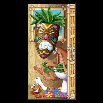 Luau Party Tiki Man Restroom Door Cover Indoor//Outdoor Use