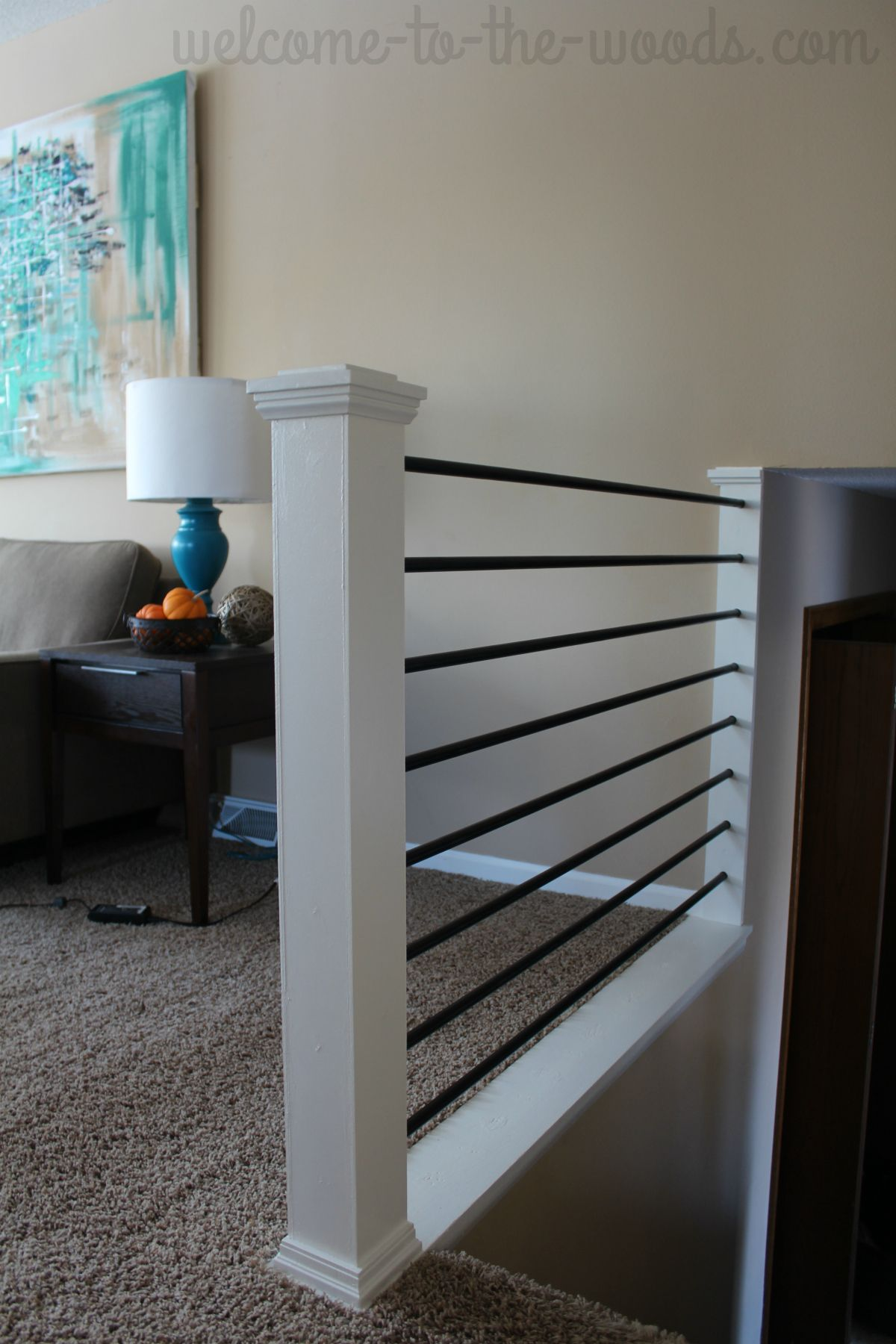I Changed My Outdated Oak Baers Into Something Horizontal Modern And Sleek You Will Love This Stair Railing Diy Makeover All Done In A Week