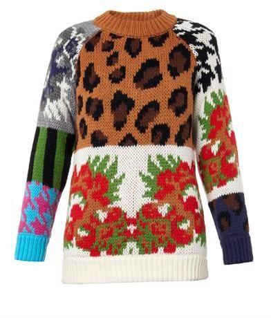 TAK. ORI Leopard and floral intarsia-knit sweater