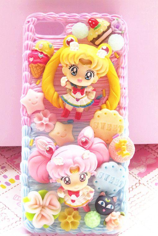 the latest e88e6 a7224 Sailor Moon and Sailor Chibi Moon phone case decoden for iPhone ...