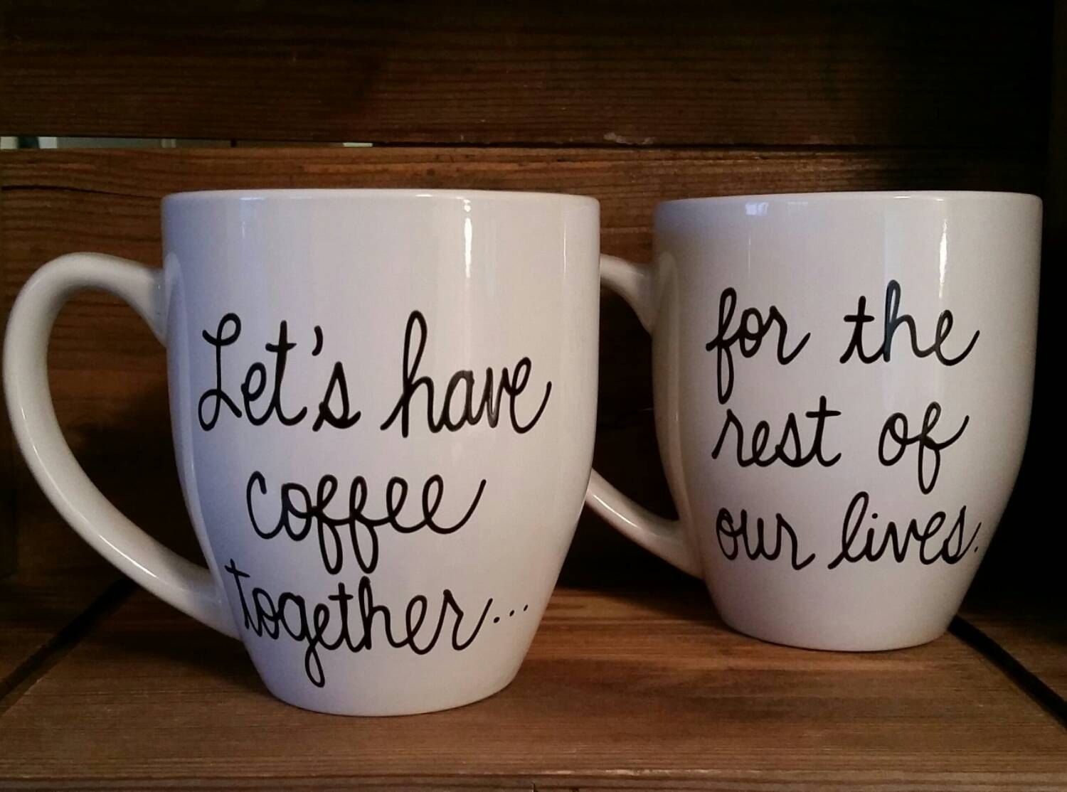 Gag Wedding Gifts For Couples: Let's Have Coffee Together Mugs, Proposal Mug,Couple's