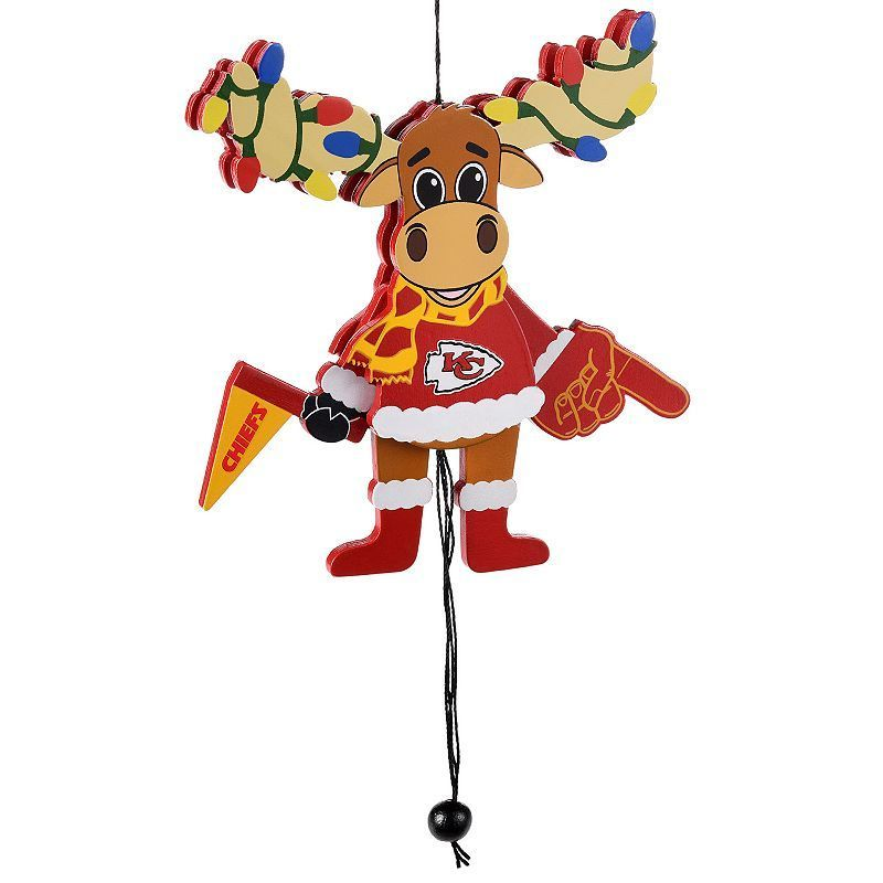 Forever Collectibles Kansas City Chiefs Wooden Moose Christmas - moose christmas decorations