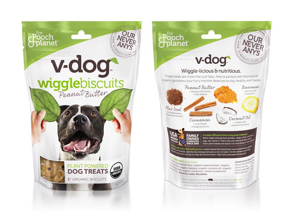 V Dog Wiggle Biscuits Package Design Vegan Dog Food Stand Up
