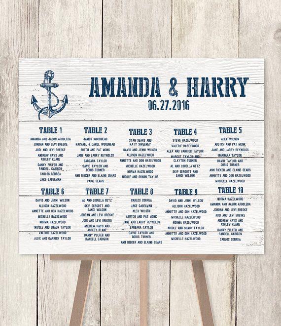Nautical Wedding Seating Chart Sign Navy Anchor