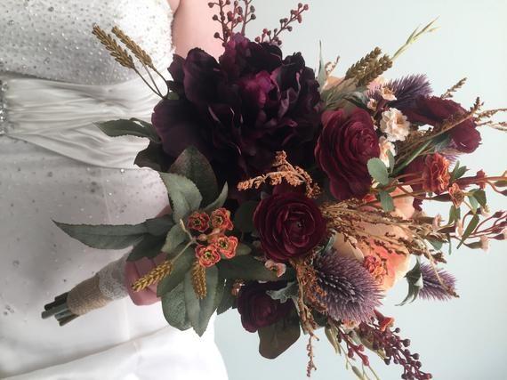 Fall Wedding Bouquet, Silk Wedding Bouquet, Rustic Bridal Bouquet, Burgundy Bouquet, Autumn Flower Bouquet, Artificial Flowers, Hydrangea #silkbridalbouquet