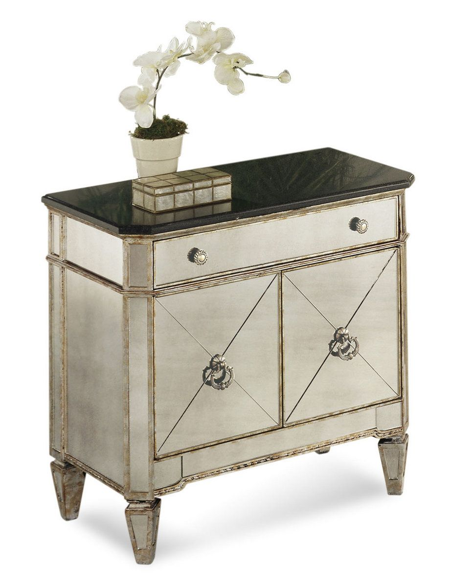 Borghese Small Mirrored Chest Antique Mirror Silver Leaf Finish