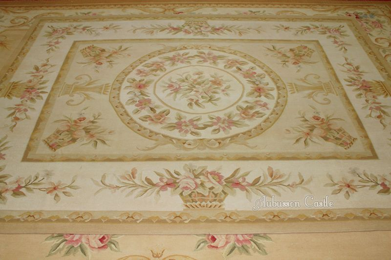 Details About Pastel Gold Ivory Aubusson Rug Pink Rose