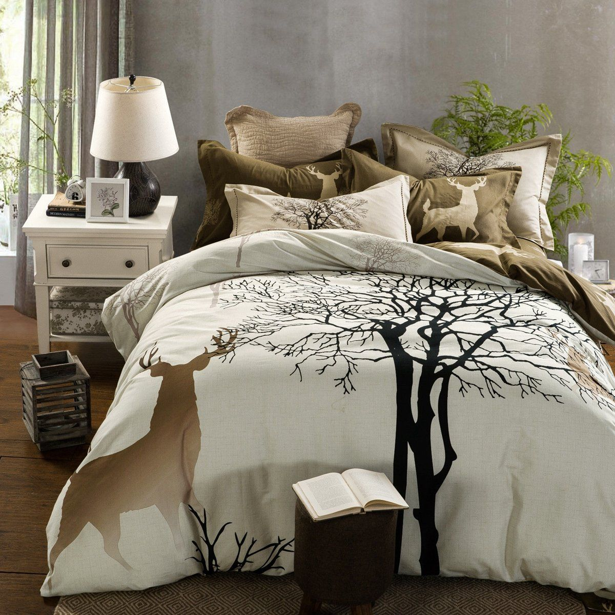 Animal Deer Cotton Single Double King Size Bedding Pillowcases