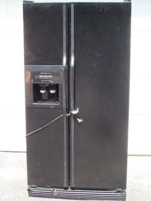 KitchenAid Superba Black Side By Side Refrigerator KSRS25FGBL02 Works # KitchenAid Find Me At Dandeepop.com