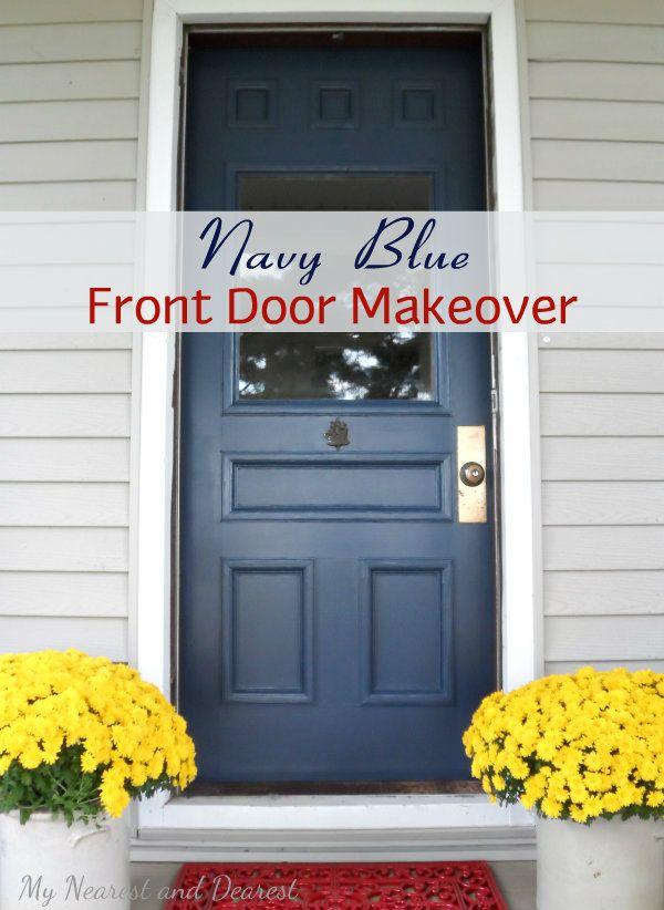 Front door makeover with Hale Navy by Benjamin Moore DIY Home
