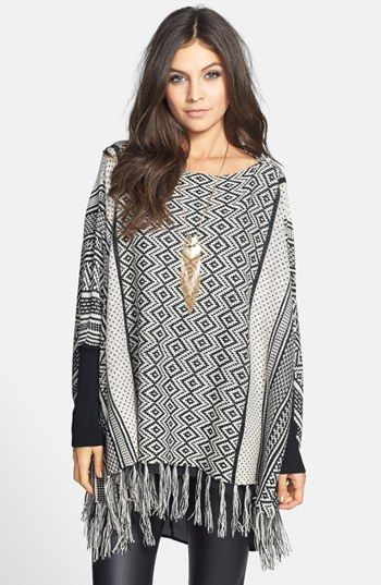 Hot & Delicious Zigzag Fringe Poncho (Juniors) (Online Only) available at #Nordstrom