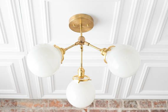 Semi Flush Globe Light   Ceiling Hanging Lamp   Dining Room Lighting    Brass Fixture   Opal Glass   Flush Mount