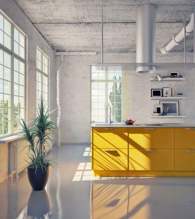Loft Küche mit freiliegenden Rohre auf Decke 10 Creative - sonne scheint gelben kuche
