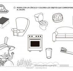 Distingue los objetos del salón. Ficha de dependencias de la casa 3