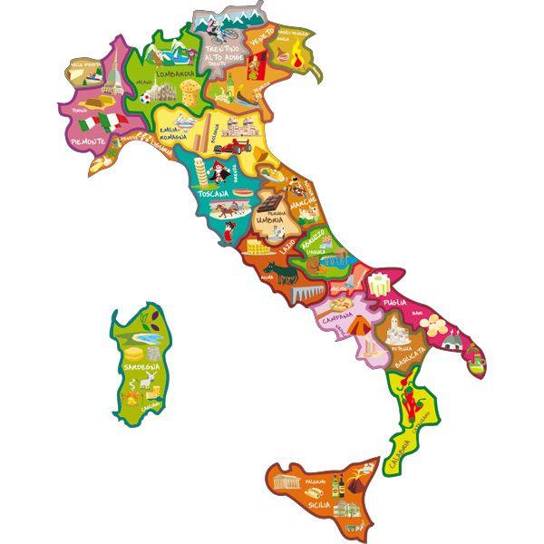 Cartina Italia Bambini.Cartina Magnetica D Italia Jpg 600 600 Pixel Italia Geografia Mappe