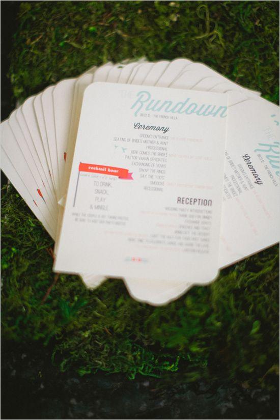 wedding program like the setup info for all events on program