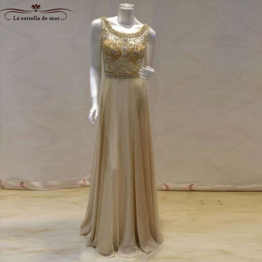 Abendkleider new lace crystal back open a line champagne