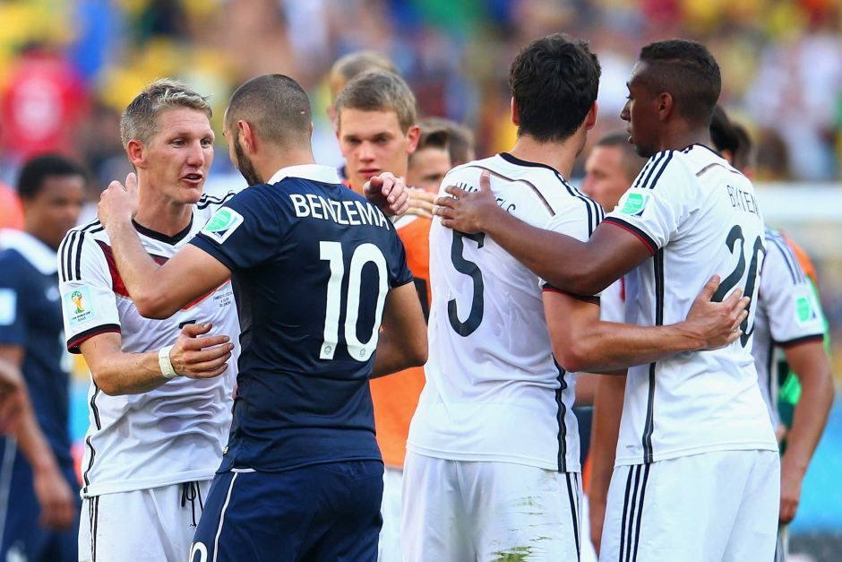 Bastian schweinsteiger of germany and karim benzema of france greet bastian schweinsteiger of germany and karim benzema of france greet each other after the 2014 fifa m4hsunfo