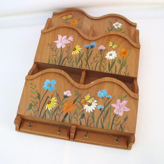 1970s Handpainted Wood Wall Mail Organizer Key by WhimzyThyme