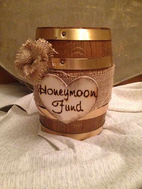 CUSTOM Honey Fund Moon Holder Money Dance Rustic Wedding Decor Bridal Shower Theme Party Western Mini Barrel Brown Burlap On Etsy