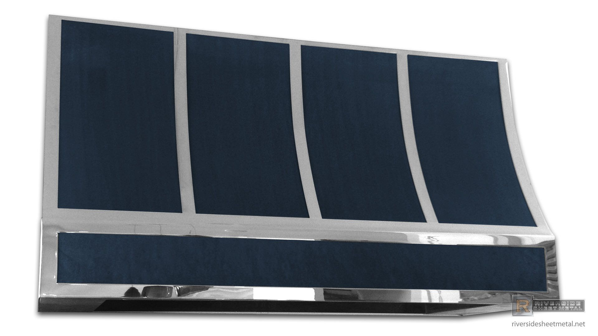 Dark Patina Zinc Hood Vent With Stainless Steel Polished Band We
