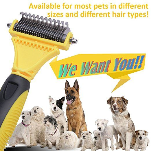Amazon Com Wolfwill Pet Dematting Comb Tool Kit Double Sided 12 23 Rake Safe Arc Blade Gently Remove Loose Undercoat Mat Dog Cat Dog Grooming Supplies Pets