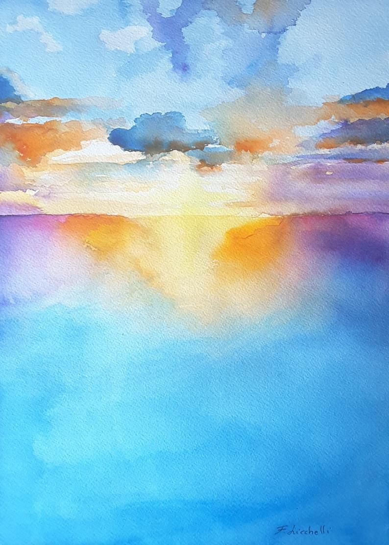 Seascape Painting Watercolor Sunset On The Sea Painting Original