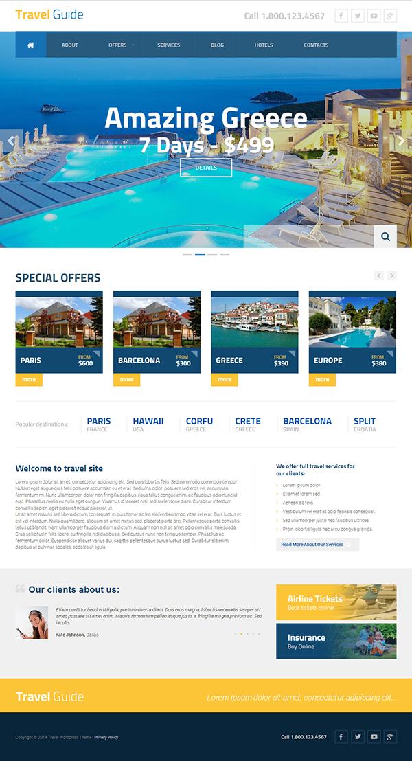 Travel Guide Wordpress Template by Dynamic Template | Wordpress ...