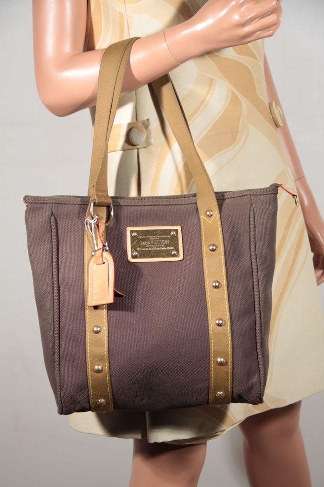 9e47b018976e LOUIS VUITTON INVENTEUR Brown Canvas ANTIGUA MM CABAS TOTE Handbag ...