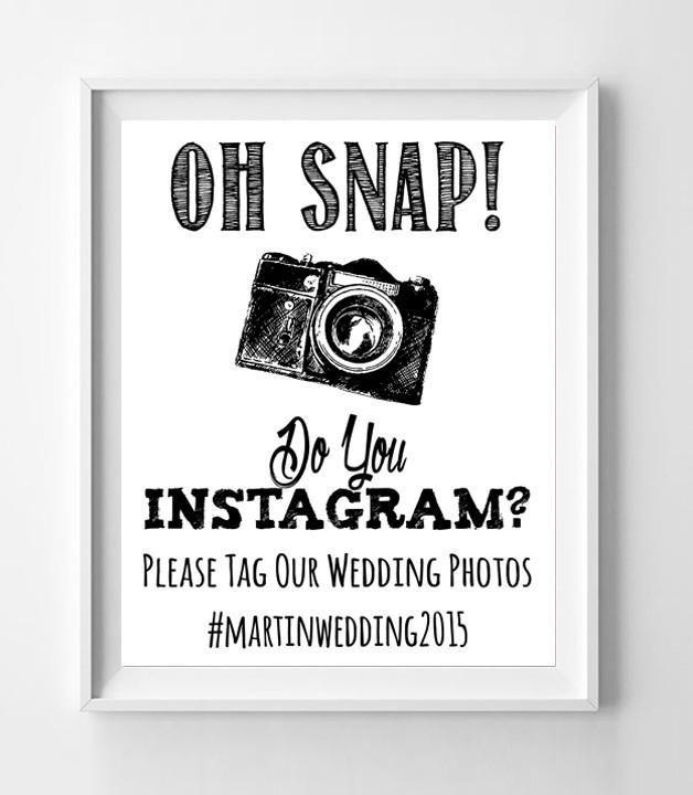 Wedding Hairstyle Hashtags: INSTAGRAM Hashtag Wedding Photo 8x10 Decoration