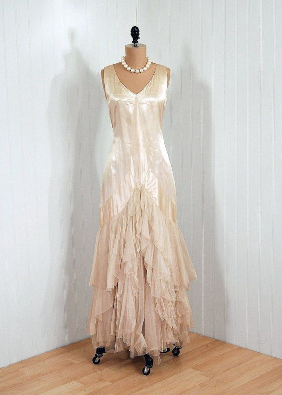 1920 39 s antique vintage ivory white ethereal silk satin for French couture dresses