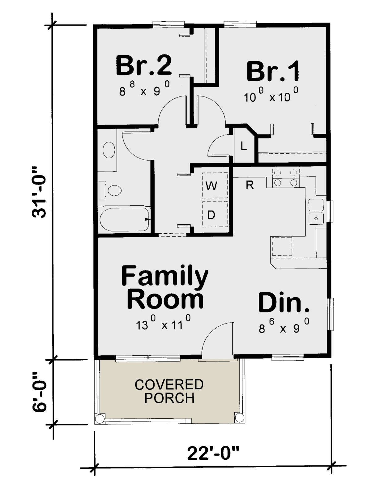 House Plan 402 01611 Small Plan 682 Square Feet 2 Bedrooms 1 Bathroom In 2020 Garage Apartment Floor Plans Small Bathroom Floor Plans House Plans