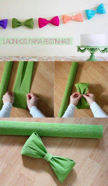 Laço de papel crepe