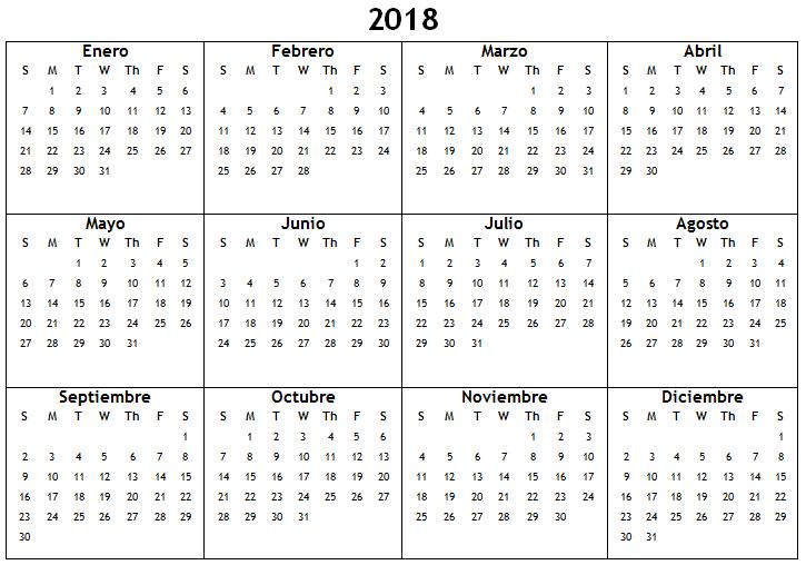 Spanish 2018 Blank Calendar Printable 2018 Printable Calendars