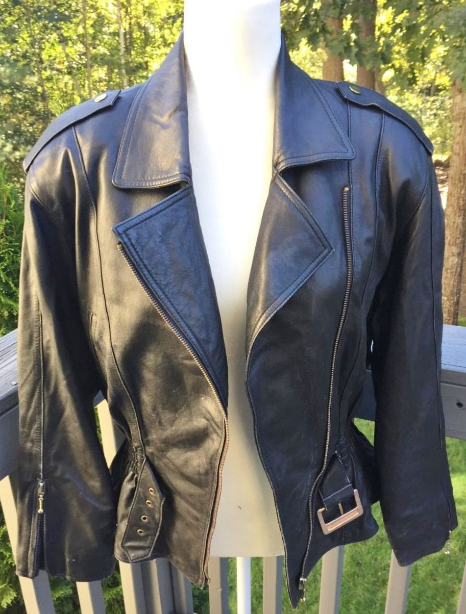 fashion merchandising resume%0A Vintage Black Leather Motorcycle Jacket Resume F O R  Mode Size M  Grab it  now